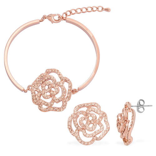 AAA Champagne Colour Austrian Crystal Floral Bracelet (Size 7.50) and Earrings (with Push Back) in Rose Gold Tone