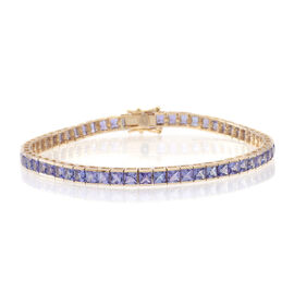 9K Yellow Gold 10 Carat AA Tanzanite Tennis Bracelet (Size 7.5)