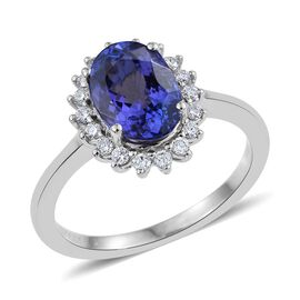 RHAPSODY 950 Platinum AAAA Tanzanite (Ovl 2.50 Ct), Diamond (VS/E-F) Ring 2.750 Ct.