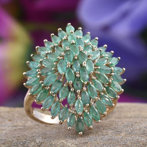 9K Y Gold AAA Kagem Zambian Emerald (Mrq) Cluster Ring 5.000 Ct.