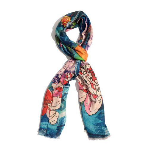 Digital Print Blue and Multi Colour Scarf (Size 180x70 Cm)