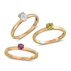 Set of 3 - Sky Blue Topaz (Ovl), Hebei Peridot and Rhodolite Garnet Solitaire Ring in 14K Gold Overlay Sterling Silver 2.000 Ct.