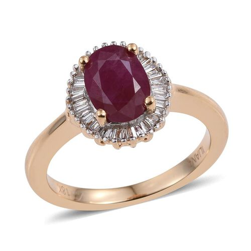 ILIANA 18K Y Gold Burmese Ruby (Ovl 1.60 Ct), Diamond Ring 1.750 Ct.