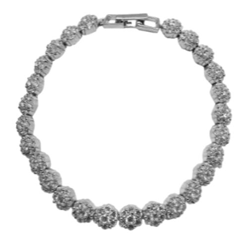 ELANZA AAA Simulated Diamond (Rnd) Bracelet in Rhodium Plated Sterling Silver