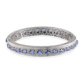 Tanzanite (Ovl), Diamond Bangle (Size 7.5) in Platinum Overlay Sterling Silver 8.300 Ct.