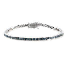Blue Diamond (I3) 2.50 Carat Tennis Bracelet in Platinum Overlay Sterling Silver (Size 7.5)