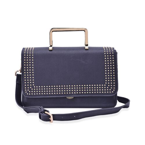 Amor Gold Metal Handle Bag in Black Colour (Size 24x15x10 Cm)