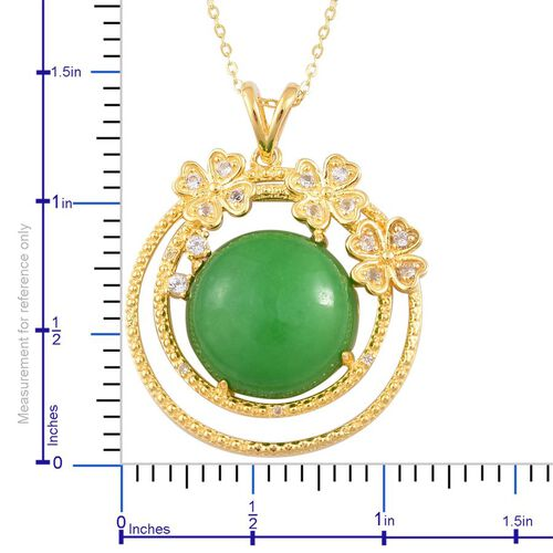 Chinese Green Jade (Rnd 15.75 Ct), White Topaz Pendant With Chain in 14K Gold Overlay Sterling Silver 16.000 Ct.