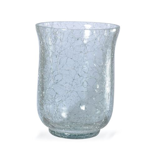 (Option 3) Home Decor - Set of 2 Crackle Glass Transparent Floral Vase or Tea Light Holder