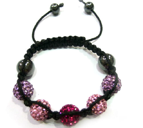 Shamballa Friendship Red, Pink and Purple Austrian Crystal, Hematite Bracelet (Adjustable)