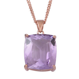 Rose De France Amethyst (Cush) Pendant With Chain in 14K Rose Gold Overlay Sterling Silver 17.000 Ct.