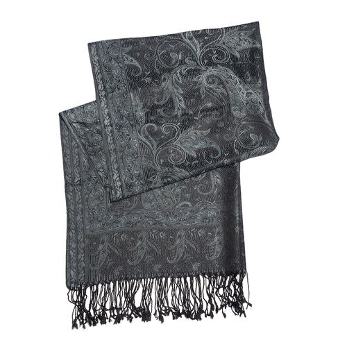 SILK MARK - 100% Superfine Silk Multi Colour Paisley and Leaves Pattern Black Colour Jacquard Jamawar Shawl with Fringes (Size 180x70 Cm) (Weight 125-140 Grams)