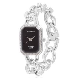 STRADA Japanese Movement Black Dial with White Austrian Crystal Water Resistant Watch in Silver Tone with Stainless Steel Back and Chain Strap