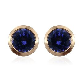 ILIANA 18K Yellow Gold 2 Carat AAA Tanzanite Round Solitaire Stud Earrings Bezel Set with Screw Back.