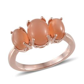 Mitiyagoda Peach Moonstone (Ovl 2.25 Ct) 3 Stone Ring in Rose Gold Overlay Sterling Silver 4.250 Ct.