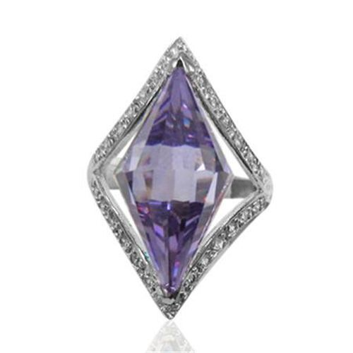 ELANZA Simulated Purple and White Diamond Platinum Overlay Sterling Silver Ring   22.000  Ct.