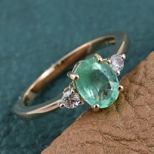 14K Yellow Gold Boyaca Colombian Emerald (Ovl 1.15 Ct), Diamond Ring 1.250 Ct.