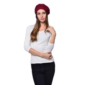 MILANO COLLECTION - 90% Merino Wool Burgundy Ladies Beret