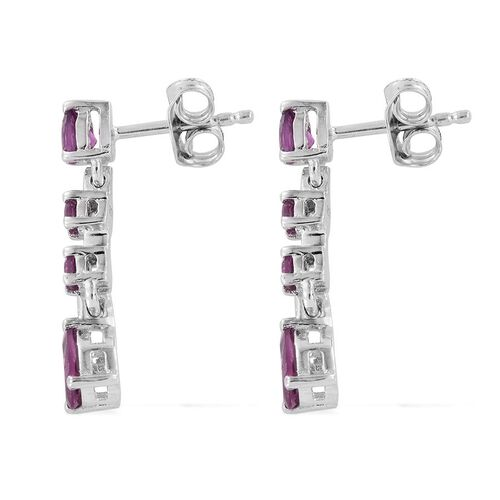 Rare Mozambique Grape Colour Garnet (Pear) Dangling Earrings (with Push Back) in Platinum Overlay Sterling Silver 1.750 Ct.