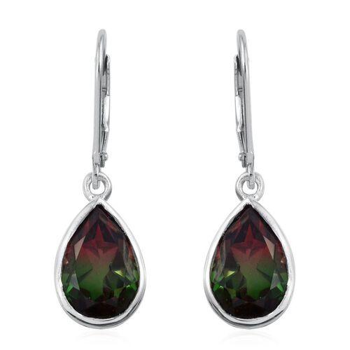 Bi-Color Tourmaline Quartz (Pear) Lever Back Earrings in Platinum Overlay Sterling Silver 7.000 Ct.