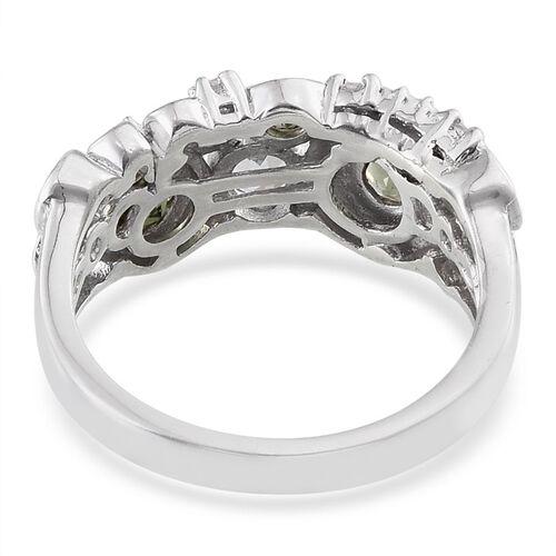 Bohemian Moldavite (Rnd), White Topaz Ring in Platinum Overlay Sterling Silver 1.000 Ct.