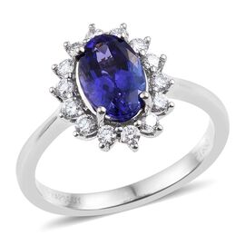 RHAPSODY 950 Platinum AAAA Tanzanite (Ovl 2.15 Ct), Diamond Ring 2.650 Ct.