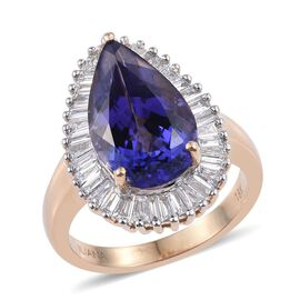 ILIANA 18K Y Gold AAA Tanzanite (Pear 6.25 Ct), Diamond Ring 7.250 Ct.