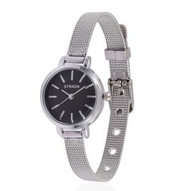 STRADA Japanese Movement Black Dial Water Resistant Watch in Silver Tone with Stainless Steel Back and Chain Strap
