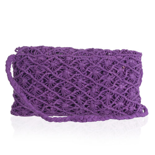Purple Full Fringes Crossbody Bag (Size 22x14 Cm)