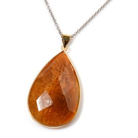 Yellow Agate Pendant in Gold Tone with Stainless Steel Chain 180.000 Ct.