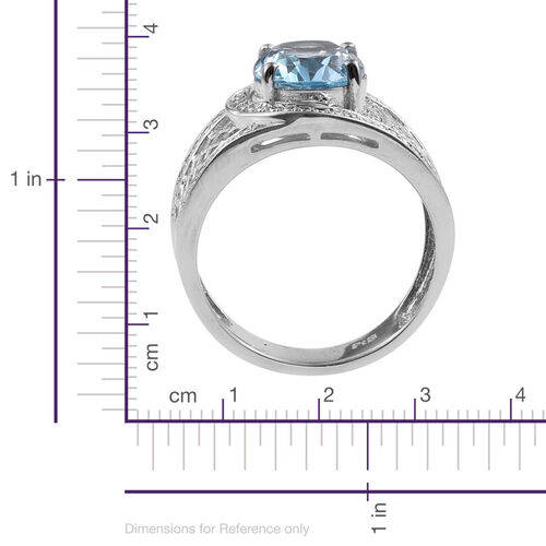 Sky Blue Topaz (Ovl 3.25 Ct), Diamond Ring in ION Plated Platinum Bond 3.255 Ct.