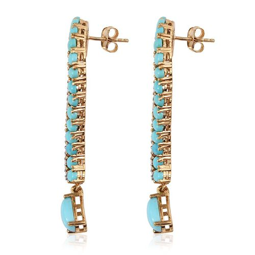 Sonoran Turquoise (Pear), Diamond Earrings (with Push Back) in 14K Gold Overlay Sterling Silver 7.770 Ct.