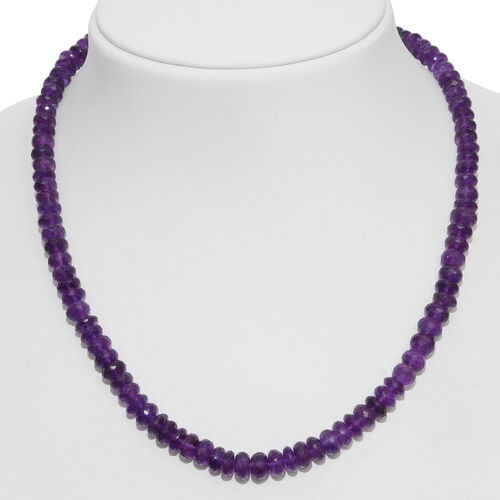 Amethyst (Rnd) Beads Necklace (Size 18) with Magnetic Clasp Lock in Rhodium Plated Sterling Silver 200.000 Ct.