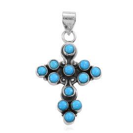 Arizona Sleeping Beauty Turquoise Cross Pendant in Sterling Silver 1.760 Ct.