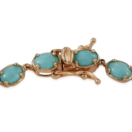 Sonoran Turquoise (Ovl) Bracelet (Size 7) in 14K Gold Overlay Sterling Silver 9.500 Ct.