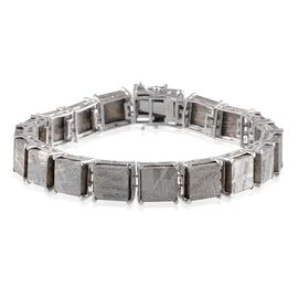 Meteorite (Sqr) Bracelet in Platinum Overlay Sterling Silver (Size 7.5) 120.000 Ct.