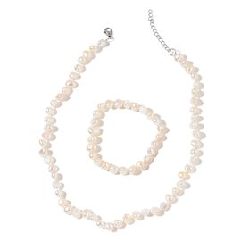 Fresh Water White Pearl Necklace (Size 18 with 2 inch Extender) and Stretchable Bracelet in Stainless Steel