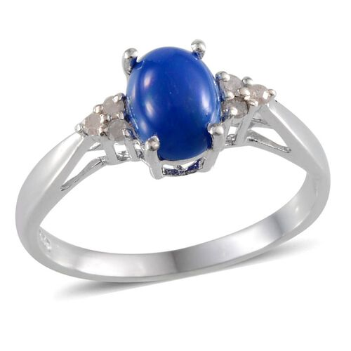 Blue Ethiopian Opal (Ovl 0.75 Ct), Diamond Ring in Platinum Overlay Sterling Silver 0.800 Ct.