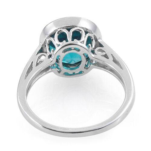 Capri Blue Quartz (Rnd) Solitaire Ring in Platinum Overlay Sterling Silver 4.250 Ct.