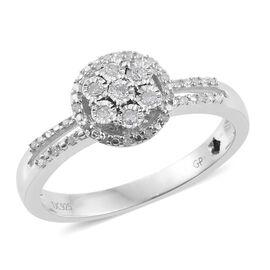 GP Diamond Dream (Rnd), Kanchanaburi Blue Sapphire Ring in Platinum Overlay Sterling Silver 0.220 Ct.