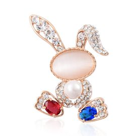 Simulated White Cats Eye, White Austran Crystal, Simulated Tanzanite, and Simulated Ruby Rabbit Brooch in Gold Tone