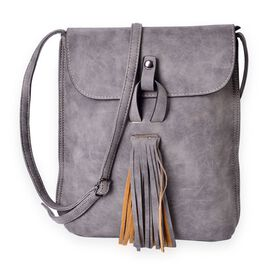 Dark Grey  Crossbody Massager Bag with Fringes and Adjustable Shoulder Strap (Size 25x21x7 Cm)