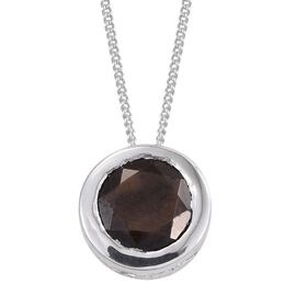 Natural Zawadi Golden Sheen Sapphire (Rnd) Solitaire Pendant With Chain in Platinum Overlay Sterling Silver 1.500 Ct.