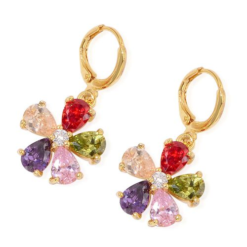 AAA Simulated Multi Colour Diamond Flower Pendant with Chain (Size 22) and Earrings in Gold Tone