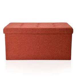 Orange Colour Linen Foldable Large Storage Ottoman with Padded Seat (Size 75x35x35 Cm)