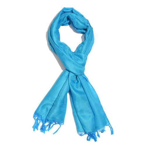 Ocean Blue Colour Paisely Pattern Jacquard Scarf with Tassels (Size 180x50 Cm)