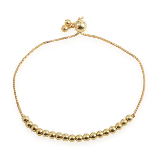 JCK Vegas Collection Adjustable Ball Bracelet (Size 6 to 9) in 14K Gold Overlay Sterling Silver, Silver wt 3.70 Gms.