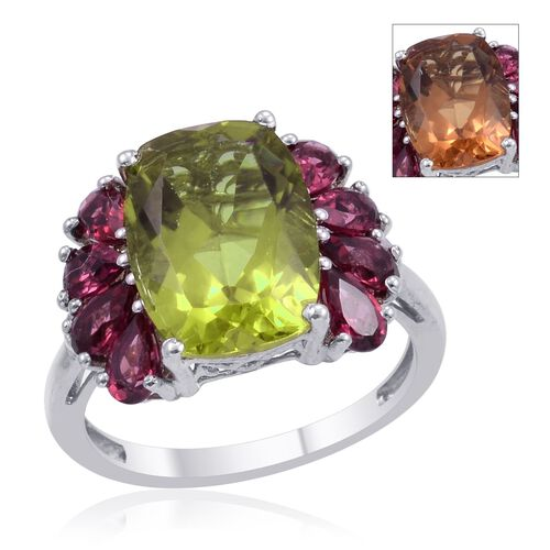 Alexite (Cush 6.00 Ct), Rhodolite Garnet Ring in Platinum Overlay Sterling Silver 8.000 Ct.