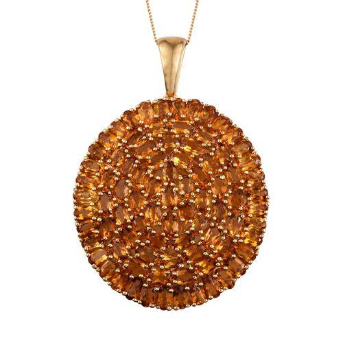 Citrine (Ovl) Cluster Pendant With Chain in 14K Gold Overlay Sterling Silver 18.750 Ct.