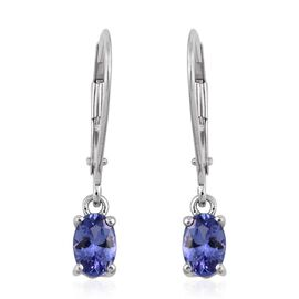 14K W Gold Tanzanite (Ovl) Lever Back Earrings 1.000 Ct.